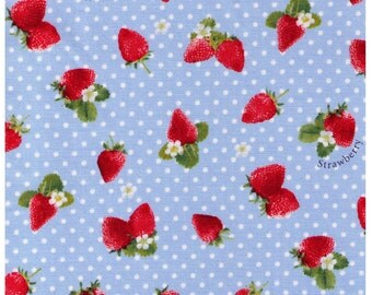 HALF YARD - Kawaii Strawberries on BLUE with White Polka Dot -  White Flowers, Sweets, Daisies, Leaves - Cosmo Textile Imported Japanese