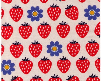 HALF YARD - Strawberries and Blue Daisies on NATURAL - Cosmo Textile Imported Japanese