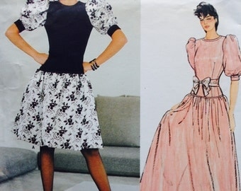 Vogue Paris Original Sewing Pattern Vintage 80s Givenchy Party Dress Puff Sleeves Flared Skirt