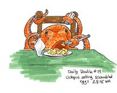 No.19 An octopus eating scrambled eggs! / Original Artwork / Ocotpus Drawing / Illustration / Daily Doodle / Art Print / Fun / Silly