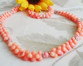 Natural Coral Necklace, Salmon Baby Pink Coral, Peanut Shaped Beads, Round Rope Style, Maryanstudios, Lenmar, Beautiful and Unique