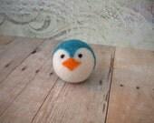 Pocket Penguin Ball, Wool, Needle Felted, Handmade, Small, Turquoise