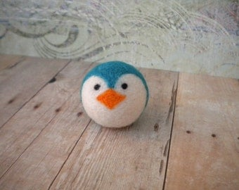 Pocket Penguin Ball, Wool, Needle Felted, Handmade, Small, Turquoise