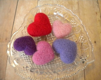 Traditional Colors, Handful of Needle Felted Hearts, Wool, Handmade, Set of 5, Red, Pink, Valentines Day