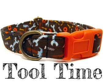 "Brown Multicolor Tools Boy Dog Collar - Organic Cotton - Antique Brass Hardware - ""Tool Time"""