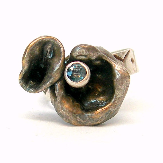 Eco Friendly Ring in Recycled  Sterling Silver with Faceted Blue Topaz