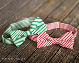 Boy's Bow Tie, Christmas Bow Tie, Striped Ties, Red and Green, Toddler Tie, Children's Christmas, Photography Prop