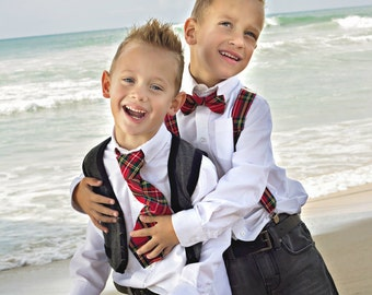 Boy's Christmas Outfit, Christmas Bow Tie Or Necktie and Suspender Set, Holiday Suspenders, Tartan Plaid, Houndstooth