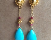 Sleeping Beauty Turquoise, 18k Gold Beads, 18k Gold Chain with Sapphire Accents.