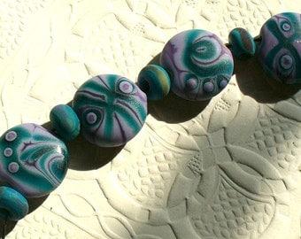 Lampwork Glass Beads by Catalina Glass SRA  Purple Mermaid