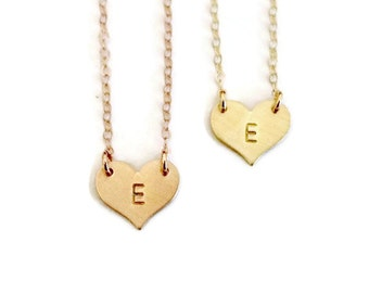 Delicate hand stamped initial heart necklace, gold or rose gold, perfect gift for her!