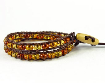 Amber and Brown Leather Double Wrap Bracelet - The Sarah