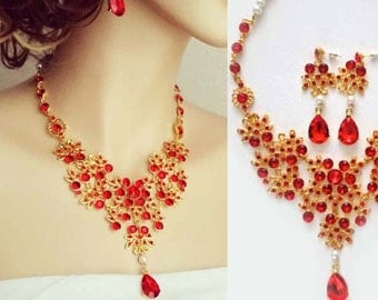 Bride's Red Jewelry Set Bridal Statement Red Rhinestone Necklace Earrings Gold Wedding Jewelry Set Bib Pearl Indian Jewelry