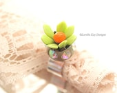 Lime Green Flower Ring Fine Silver Plated Mauve & Red Moving Flower Petal Trembler Ring