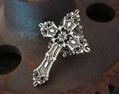 Gothic Cross, Silver Filigree Ring, Saints & Sinners Design, Silver Ox Finish, Adjustable, Original Design, Metal Bonded Together NOT GLUED