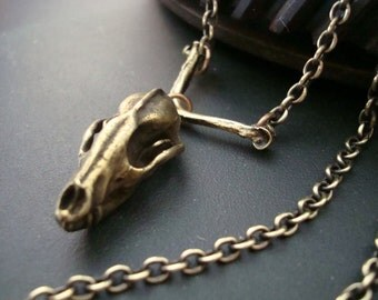 Predator Skull On Bone Necklace, Unique and Creepy, Gothic, Vintage Bronze Ox Patina, Solid Quality Brass Ox Chain, Handmade, USA Ship, Gift