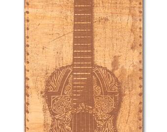 Dark Guitar screen print on wood