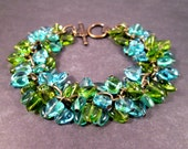 Heart Charm Bracelet, Blue Teal and Green Sweetheart Bracelet, Brass Beaded Bracelet, FREE Shipping U.S.