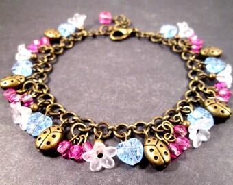 Ladybug Charm Bracelet, White Flowers, Pink Berries, Blue Hearts, Brass Beaded Bracelet, FREE Shipping U.S.