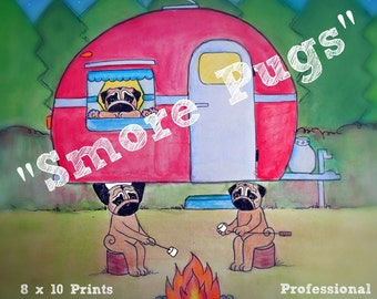 Pug vintage camper camping making smores 8 x 10 somerset giclee print