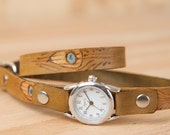Leather Wrap Watch - Skinny watch - Womens Watch - Feather watch - Jade pattern with peacock feathers - gold antique brown sage turquoise
