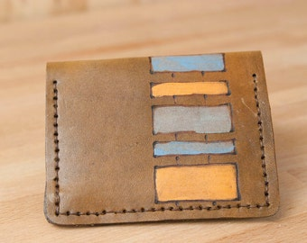 Wallet - Leather Wallet - Small Wallet - Front Pocket Wallet - Card wallet - Brown Leather - MIghty Fold in the Lino Pattern - Mens Wallet