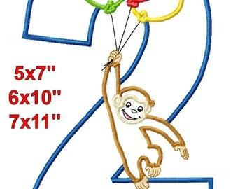 Monkey Balloons 2 Birthday Machine Embroidery Applique Digital Pattern 5x7 6x10 7x11 INSTANT DOWNLOAD