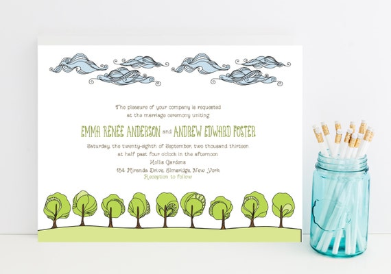 nature wedding invitations clouds trees grassy theme, Wedding invitations