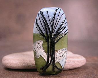 Lampwork Glass Focal Tree Bead Green Blue Black Divine Spark Designs SRA