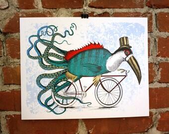 Fishtucanapus - Hand Printed Art print 11x14