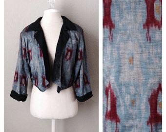 Vintage 90s ikat print cropped jacket / boho / hippie / reversable / envelope front