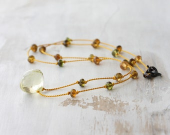Tourmaline necklace - petro tourmaline beads & a lemon quartz briolette knotted on silk - silk necklace - tourmaline jewelry