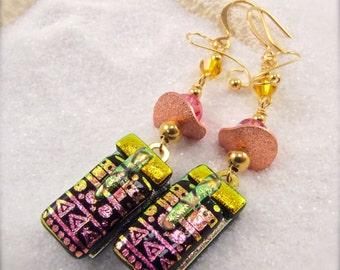 Artistic dichroic jewelry, Dichroic fused glass Earrings, dichroic glass, dichroic jewelry, handmade, Hana Sakura, Glass fusion, unique
