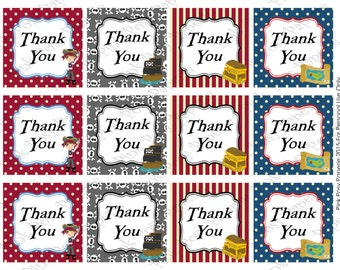 Printable Pirate Thank You Tags - Instant Download