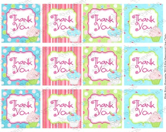 Printable Cupcake Theme Thank You Tags - Instant Download