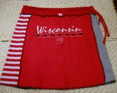 Recycled Tshirt Skirt- Wisconsin- Rose Bowl....red, gray, blacks