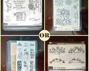 NEW Stampin' Up Spring Party / Smorgasborders Unmounted Rubber Stamp Set - Flower / Bird / Butterfly