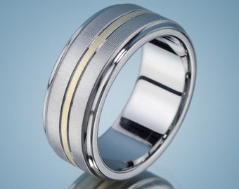 Men's Wedding Band Stainless Steel Gold Ring