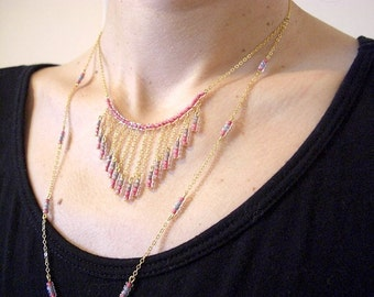 Golden Brass Bib Necklace with Pastel Beads