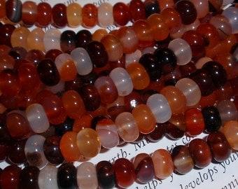 Red Orange Black Carnelian Rondelle Gemstone Bead Strand-WHOLESALE PRICING