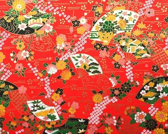 Chiyogami Paper - Fans Paper - Washi Paper -  Red Paper -  Floral Paper - Flower Paper - Japanese Paper - Yuzen Paper