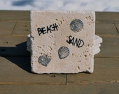 Beach Natural Stone Coasters. Set of 4. Gift for Her, Beach House, Housewarming