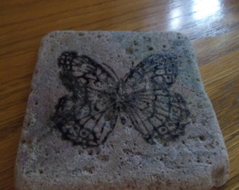 Butterfly Tumbled Marble Coasters