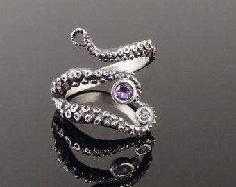 Wicked tentacle ring amethyst and topaz, Wedding Band, Engagement Ring, Occasion