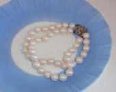 Faux Pearl two strand Japan Bracelet Lovely old clasp