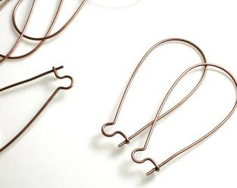 Antique copper kidney earwire 35x18mm, 20 pcs (item ID XMHB000131AC)