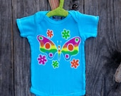 Rainbow butterfly batik organic turquoise baby one piece eco friendly hand painted hand dyed -baby clothes-.