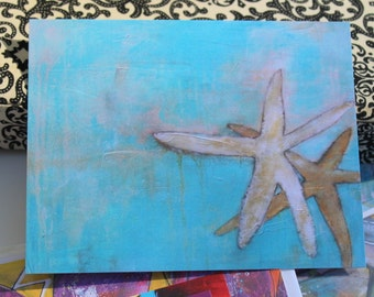 New card styles :  2 Starfish in Beach Blue, white, and creme flat note cards by Jodi ohl