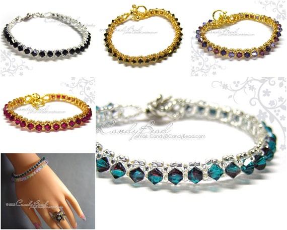 Swarovski Crystal Bracelet - Single Row Bracelet by CandyBead