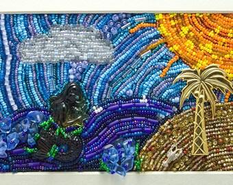 Beaches // Beaded Painting // Beadwork  // Bead Embroidery // Seed Beads // Mixed Media